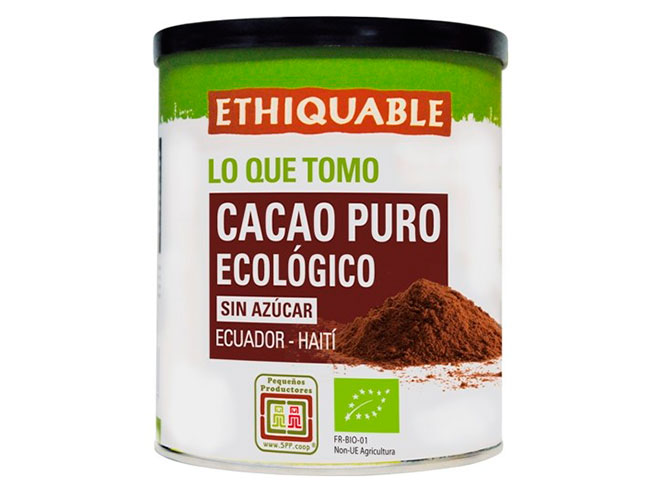 Cacao puro ecológico en lata de Ecuador
